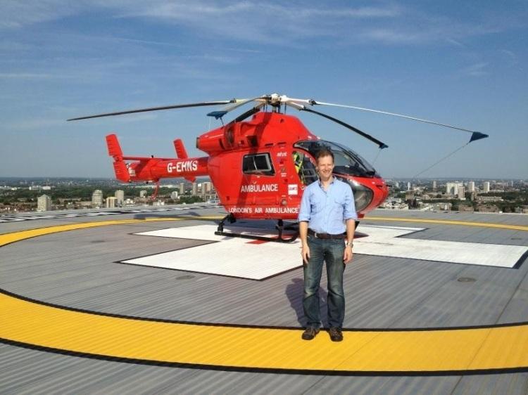 Dr Karel Habig at London HEMS helipad