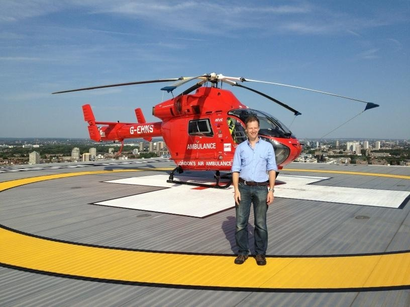 Dr Karel Habig at London HEMS helipad