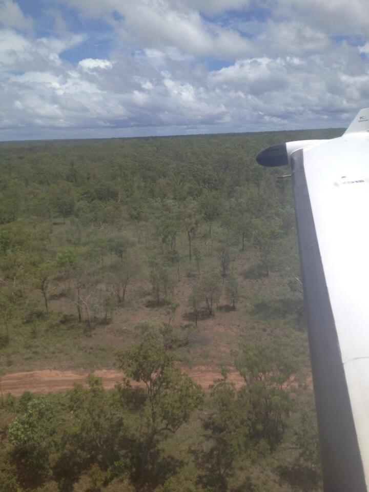 Our Flying ER on landing approach to a remote dirt strip
