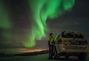 This is a favourite picture of myself enjoying the northern lights on the highway outside of Inuvik NT last winter.