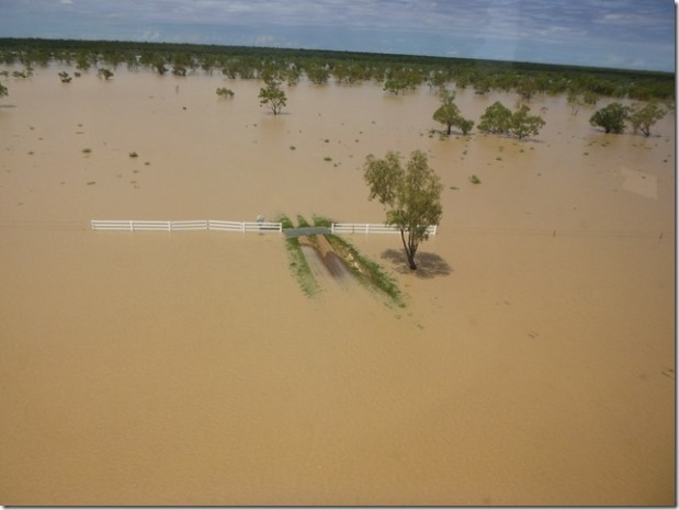 Fence line underwater at Linda Downs