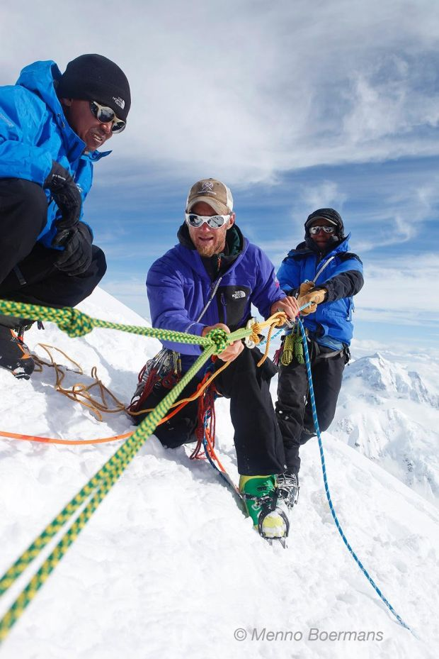 Weber leading a rope rescue training at 16,200 feet as part of the Nepalese Technical Exchange Program with climbing guides from the Everest region (photo Menno Boermans)