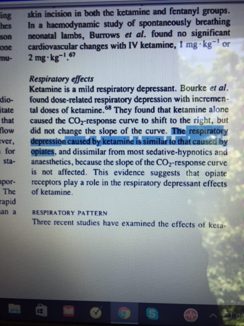 Ketamine causes respiratory depression similar to opioids